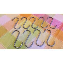 lot Crochet  S de boucherie à viande 2 Piques 100 x 5 mm ( 10 pcs ) -