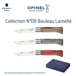 Superbe Pack Opinel N°08 Collection Bouleau Lamellé -