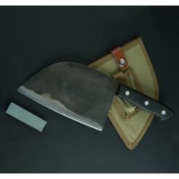 Shuangmali Superbe Couteau de boucher , survie ou collection avec étui cuir -