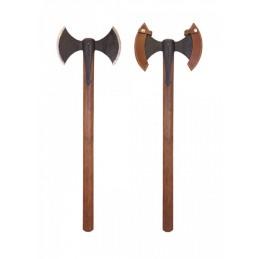 Wiking Hache Viking forgée à la main avec une lame à double hache lourde en acier au carbone de haute qualité! -