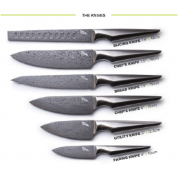 KUROI HANA COMPLETE CHEF KNIFE SET 6 PCS + AIGUISEUR -