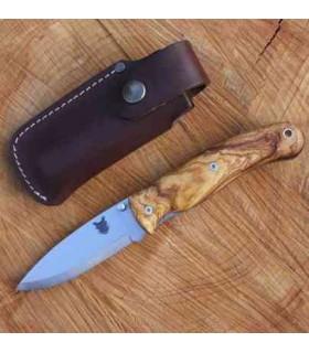 TBS BOAR N695 FOLDING LOCK KNIFE OLIVE WOOD WITH BELT POUCH -