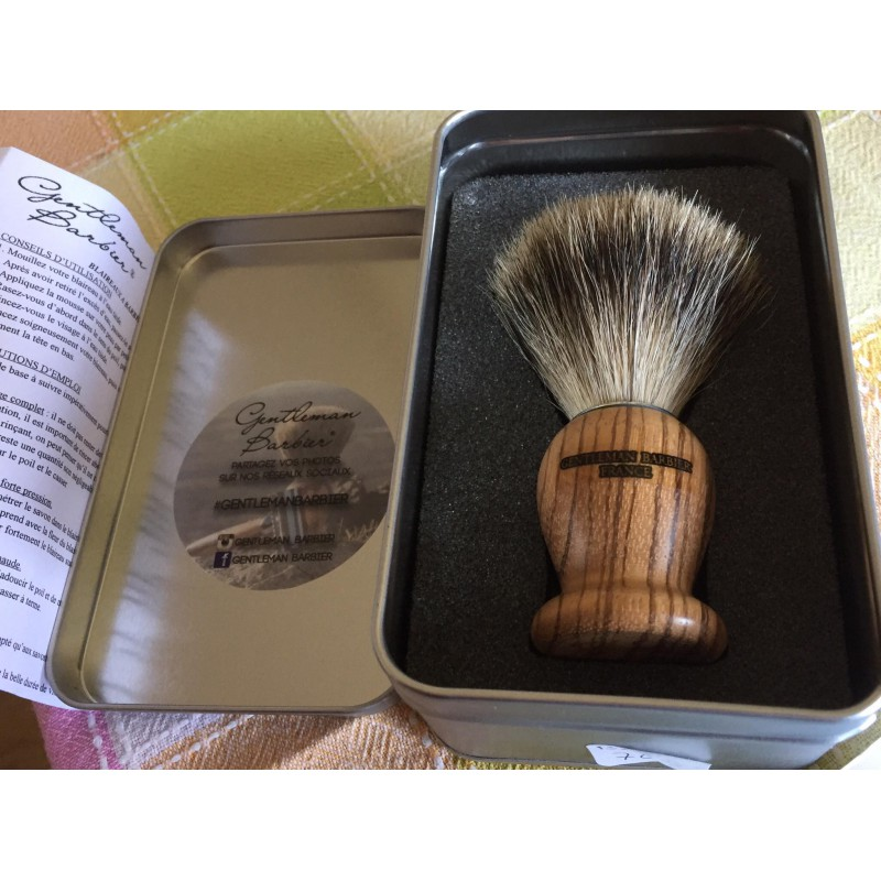 Blaireau BZEPB Gentleman Barbier Bois zébré -