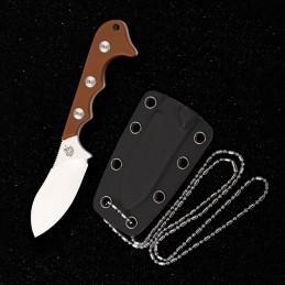Couteau fixe Neck Knife QSP QS125-B ( QS125B ) Brun -
