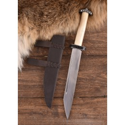 Couteau Saxophone court avec manche en os et étui en cuir -