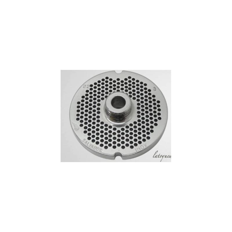 Plaque Grille Inox n°22 Salvador pour hachoir à viande -