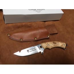 Très beau couteau fixe Claude Dozorme 11540066B Summer Camp Bois bouleau -