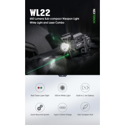 Nextorch Lampe d'arme rechargeable sous-compacte WL22 650 lumens -