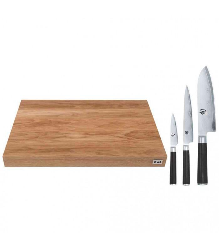Kai DM0789DM SET1 (Shun) Bloc à hacher avec 3 couteaux -