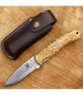 TBS BOAR N695 FOLDING LOCK KNIFE CURLY BIRCH BELT POUCH -